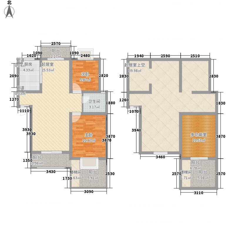 绿洲茗苑户型图一期2#楼B户型 2室2厅1卫1厨