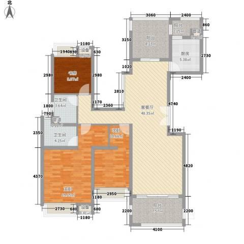中海御湖熙岸3室1厅2卫1厨160.00㎡户型图