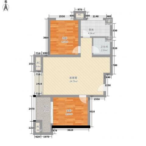 名仕公馆2室0厅1卫1厨83.00㎡户型图