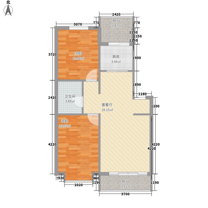 泰华林庄园户型图G户型 2室2厅1卫1厨