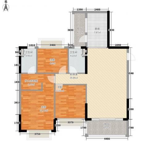 恒大山水城别墅3室0厅2卫1厨147.00㎡户型图