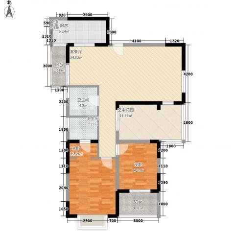 金博水岸2室1厅2卫1厨132.00㎡户型图