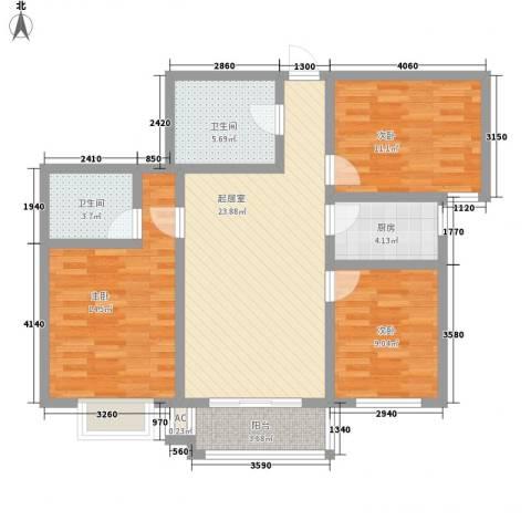 迎西城・龙湾佳园3室0厅2卫1厨112.00㎡户型图