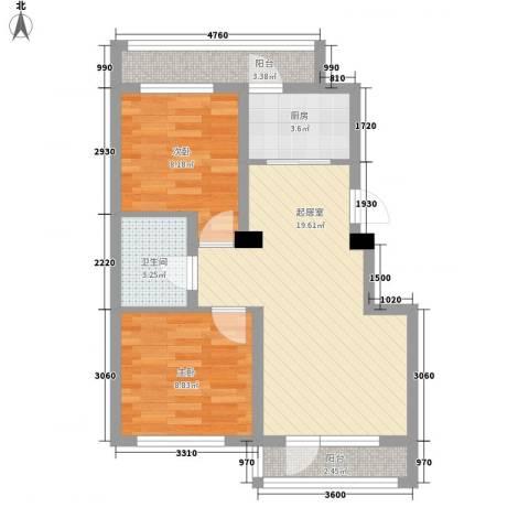 鑫展水岸2室0厅1卫1厨91.00㎡户型图