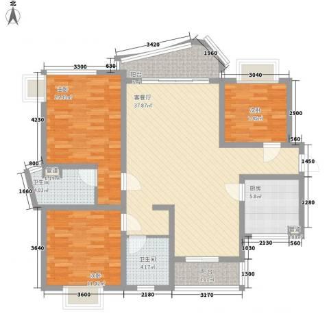 万宝威尼斯蓝湾3室1厅2卫1厨109.66㎡户型图