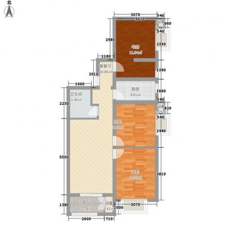 水岸丽景3室1厅1卫1厨62.49㎡户型图