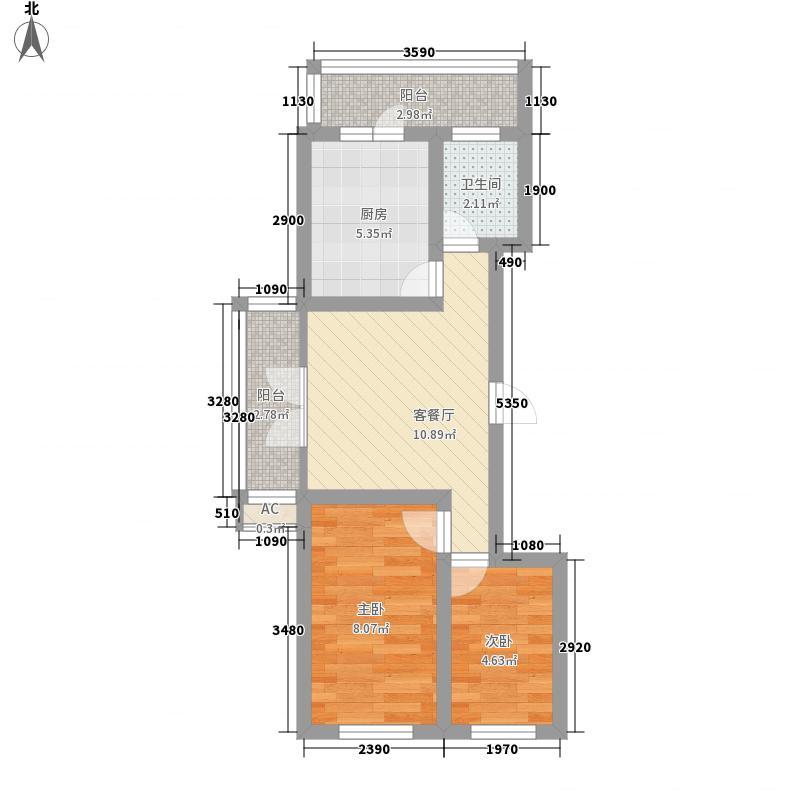 汉城国际57.00㎡汉城国际户型图G4#-4户型2室1厅1卫1厨户型2室1厅1卫1厨