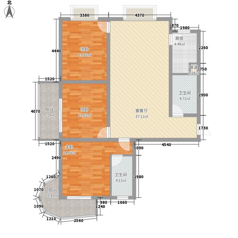 东悦名轩144.18㎡6#楼F户型3室2厅2卫1厨