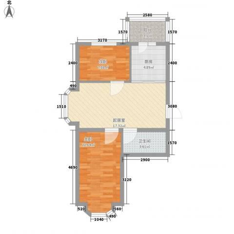 亿兴润景2室0厅1卫1厨70.00㎡户型图