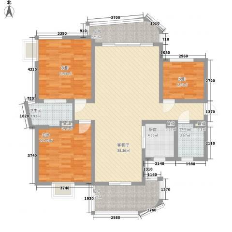 万宝威尼斯蓝湾3室1厅2卫1厨111.76㎡户型图