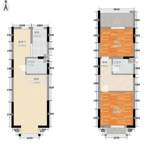 三泰茗居2室1厅2卫1厨122.00㎡户型图