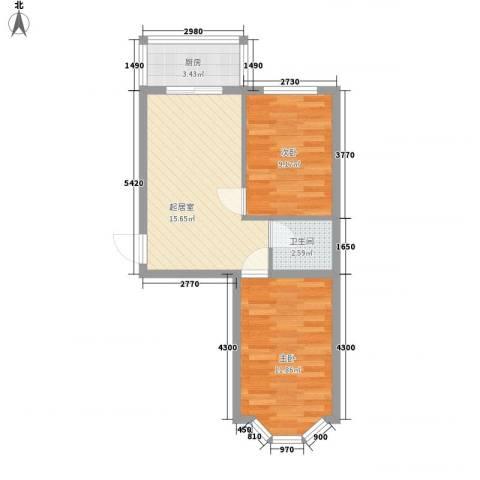 亿兴润景2室0厅1卫1厨61.00㎡户型图