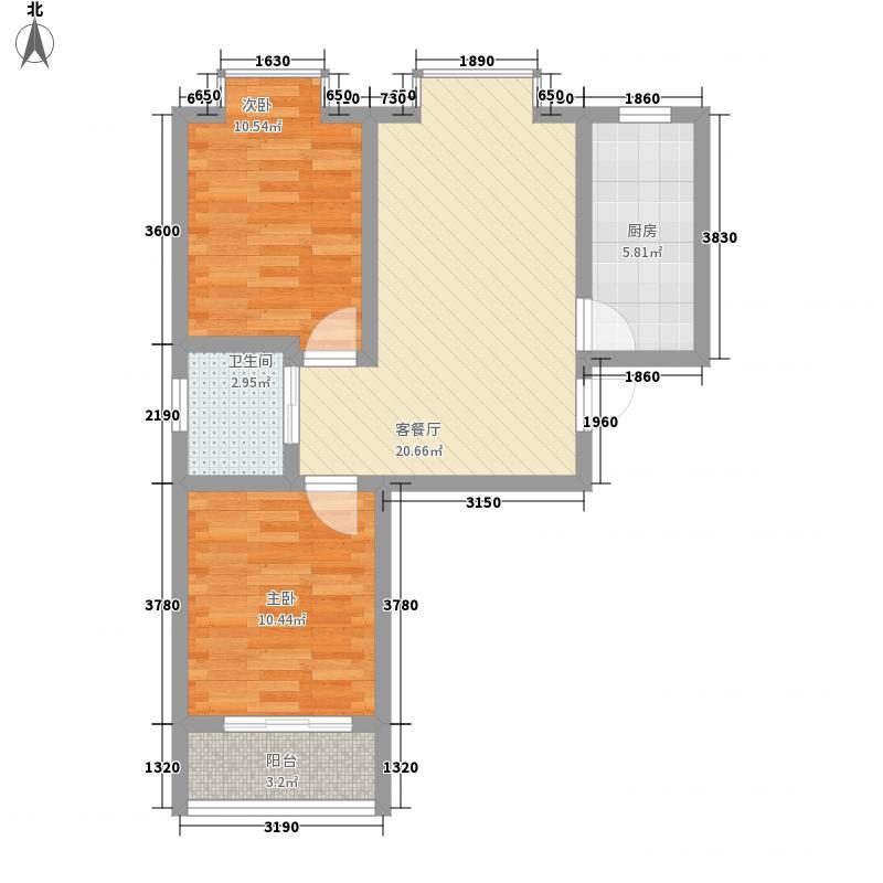 黄山名苑77.83㎡一期标准层户型2室1厅1卫1厨