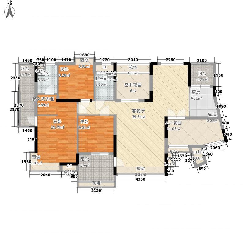 保利星座136.00㎡4号楼奇数层01单元户型