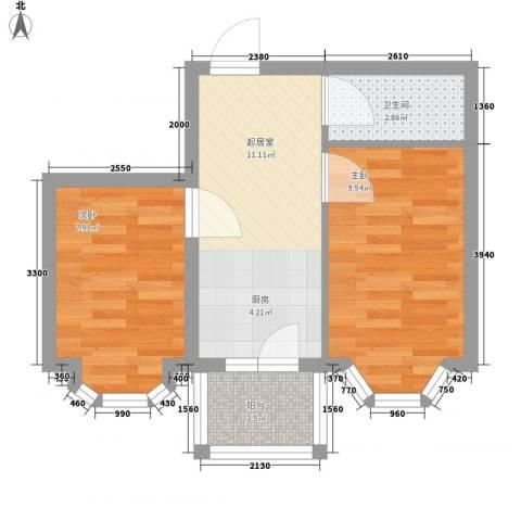 亿兴润景2室0厅1卫0厨50.00㎡户型图