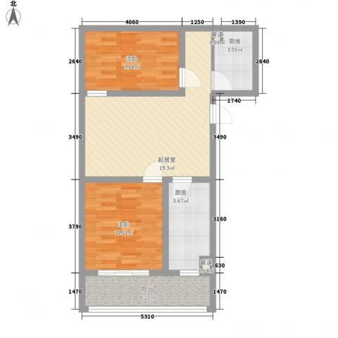 军景雅居项目2室0厅0卫2厨82.00㎡户型图