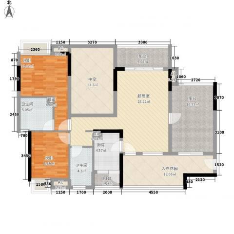 新世纪豪园添一居2室0厅2卫1厨107.69㎡户型图