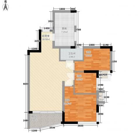 盈彩美地3室0厅1卫1厨93.00㎡户型图