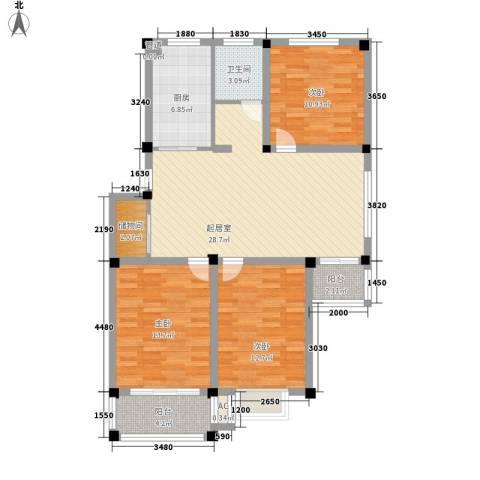 华夏星辰3室0厅1卫1厨122.00㎡户型图