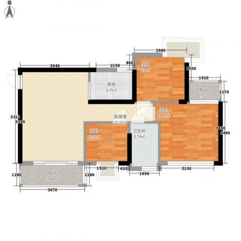 盈彩美地3室0厅1卫1厨85.00㎡户型图
