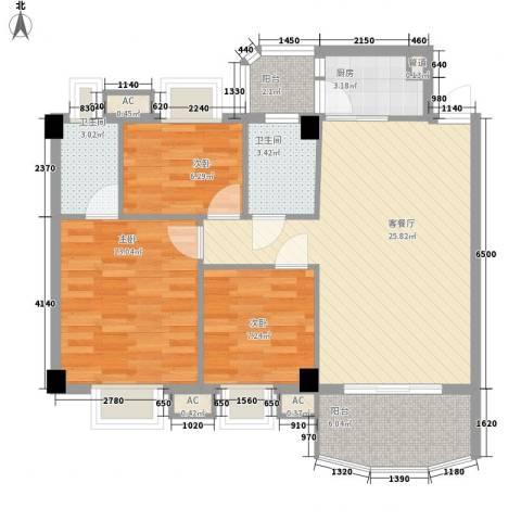 丽雅苑3室1厅2卫1厨103.00㎡户型图