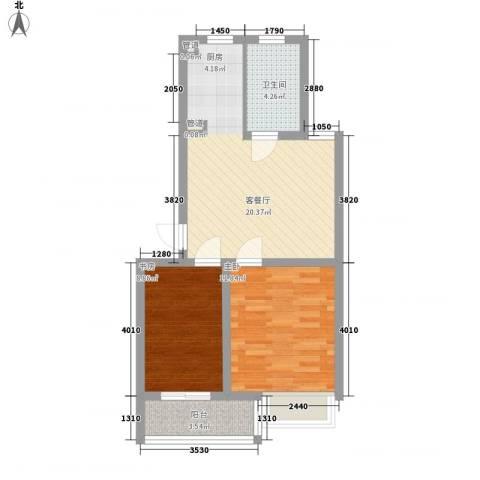 金世湾2室1厅1卫0厨72.00㎡户型图