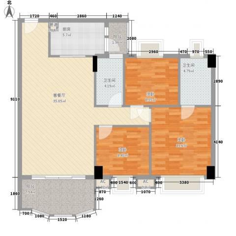 丽雅苑3室1厅2卫1厨128.00㎡户型图