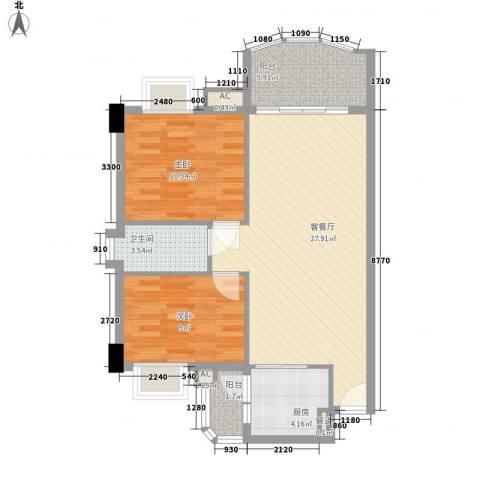 丽雅苑2室1厅1卫1厨91.00㎡户型图