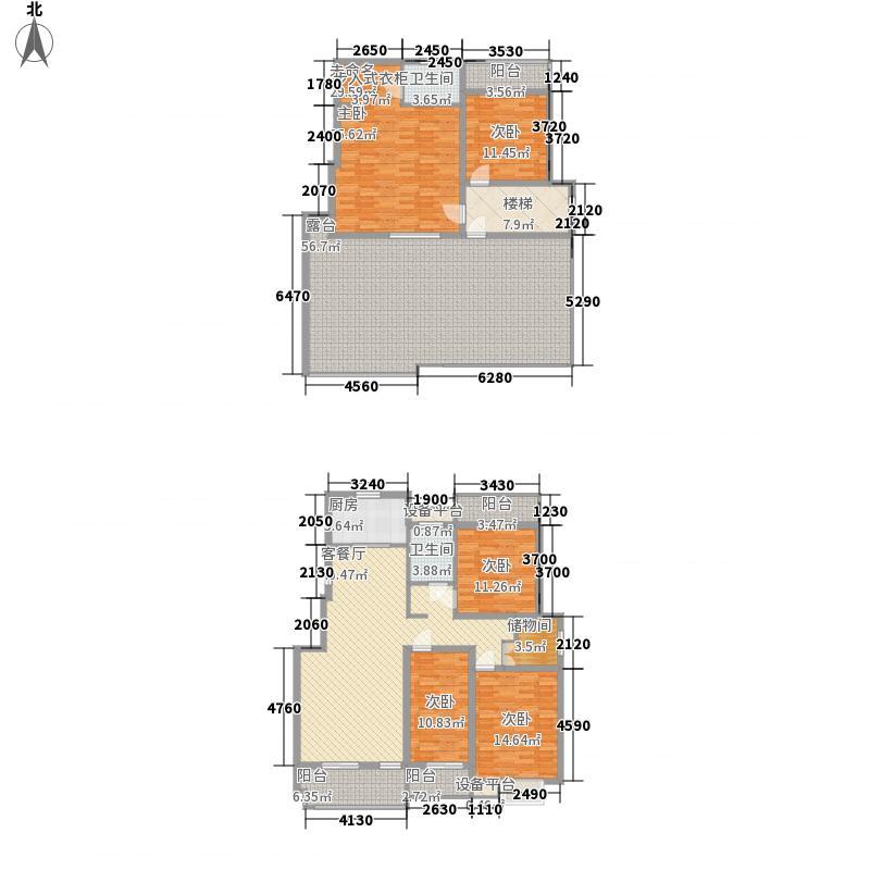 梧桐湾2.20㎡D3复式结构户型5室2厅2卫1厨