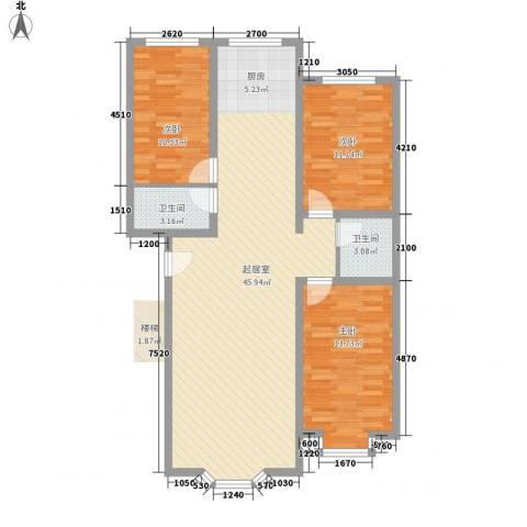 西河花苑3室0厅2卫0厨87.38㎡户型图