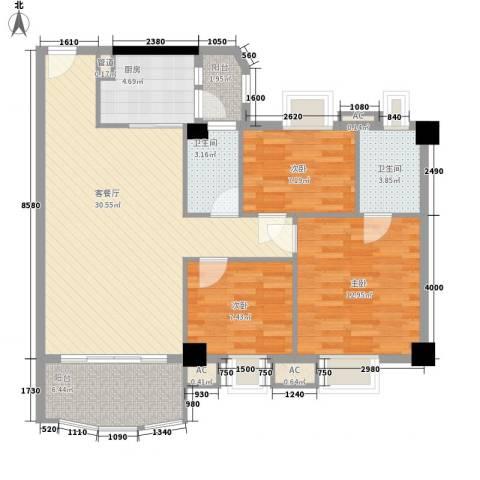 丽雅苑3室1厅2卫1厨114.00㎡户型图