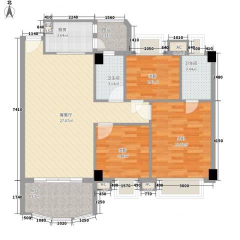 丽雅苑3室1厅2卫1厨105.00㎡户型图