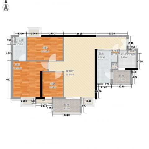 博雅御轩3室1厅2卫1厨118.00㎡户型图