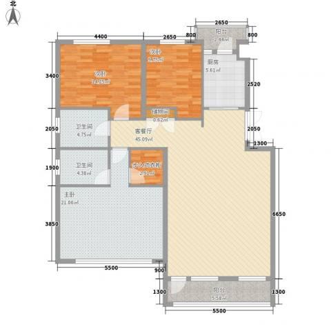 中凯梦之城3室1厅2卫1厨135.00㎡户型图