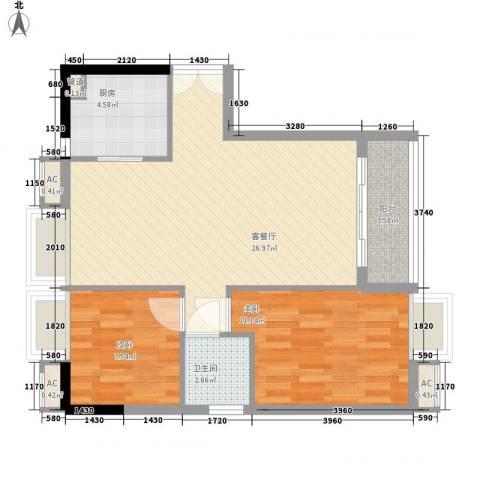 嘉茗华庭2室1厅1卫1厨83.00㎡户型图