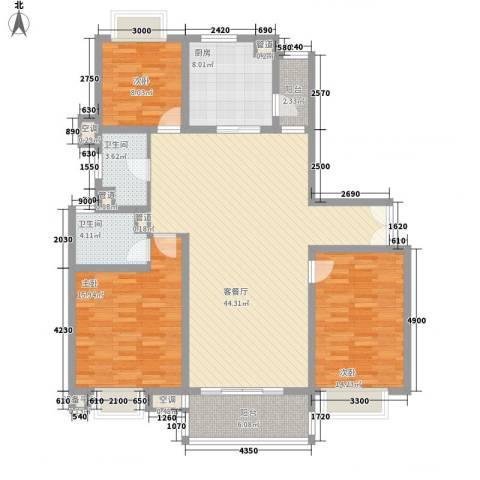 古北嘉年华庭3室1厅2卫1厨155.00㎡户型图