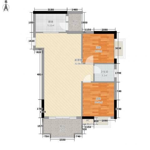 一江名城2室0厅1卫1厨85.00㎡户型图