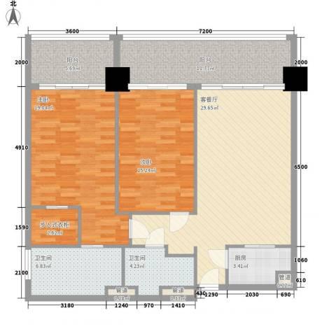锦绣香江布查特国际公寓2室1厅2卫1厨129.00㎡户型图