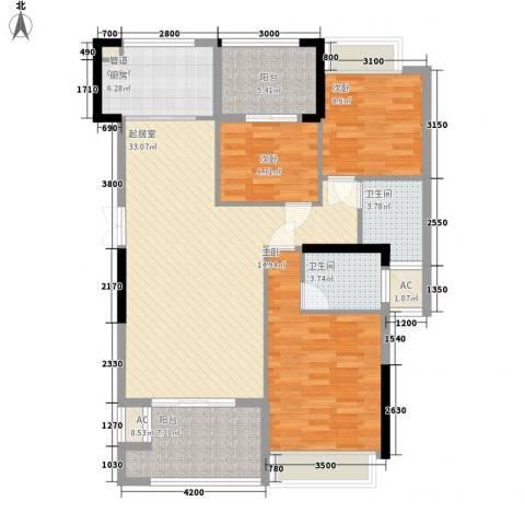 融耀江滨御景3室0厅2卫1厨122.00㎡户型图