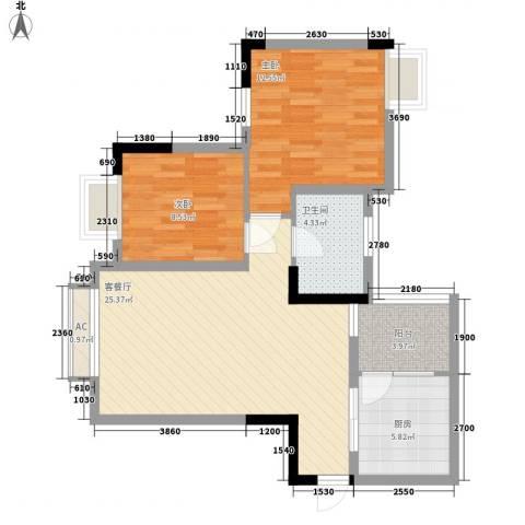 逸静丰豪2室1厅1卫1厨88.00㎡户型图