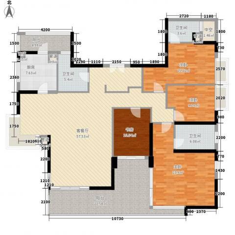 华发世纪城三期4室1厅3卫1厨169.33㎡户型图