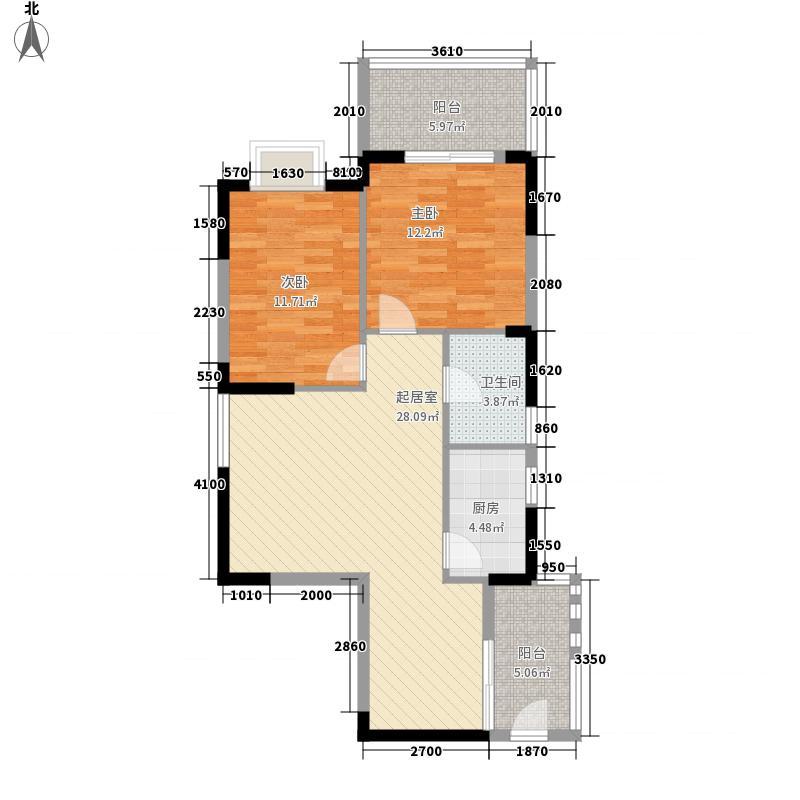 东立国际花城87.00㎡1栋D户型2室2厅1卫1厨