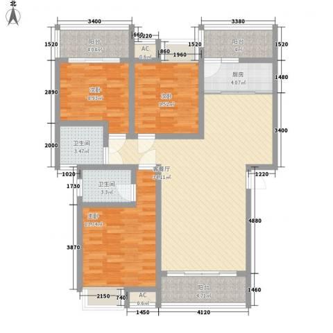 康馨里居3室1厅2卫1厨91.09㎡户型图