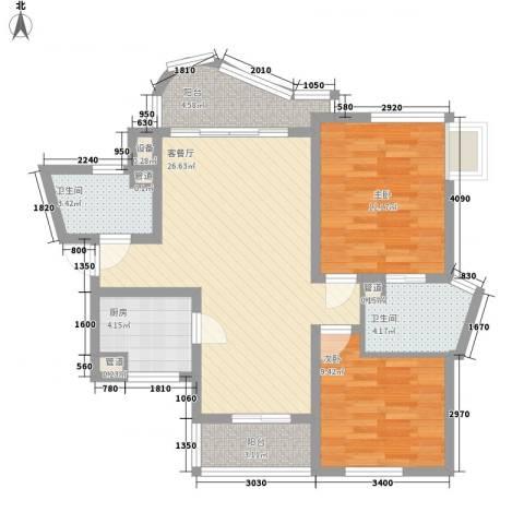 万宝威尼斯蓝湾2室1厅2卫1厨80.76㎡户型图