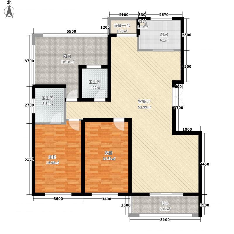 华雁香溪美地133.00㎡二期多层52-59#楼顶层B户型2室2厅2卫1厨