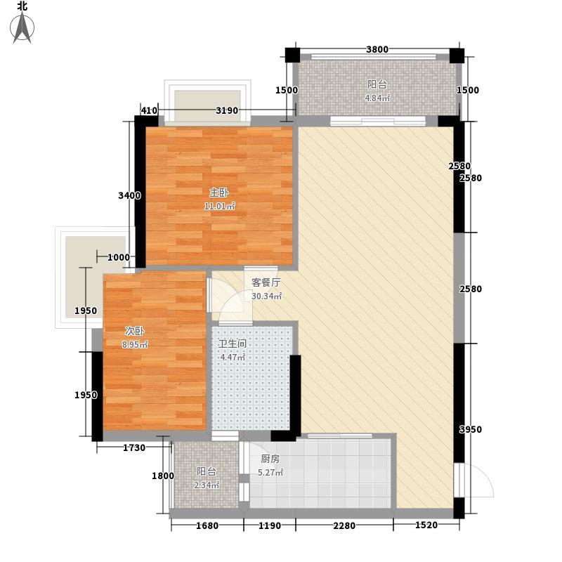 汇侨新城7.00㎡二期30座标准层01户型2室2厅1卫1厨