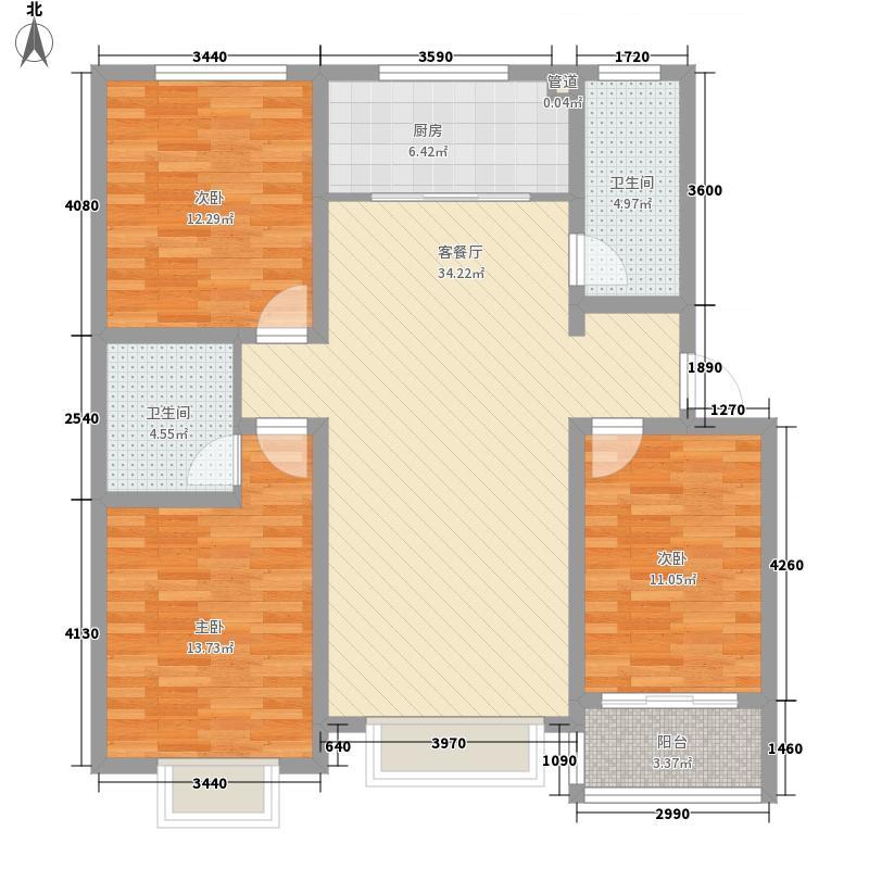 水岸阳光12.80㎡多层D户型3室2厅2卫1厨