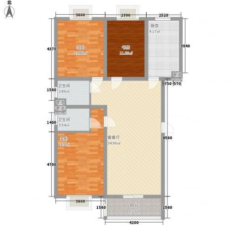 三泰茗居3室1厅2卫1厨132.00㎡户型图