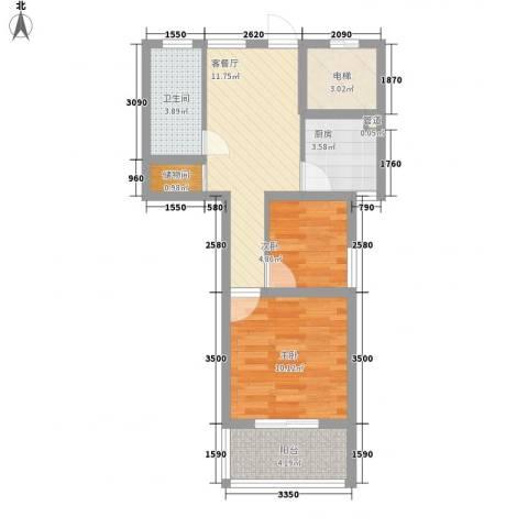 盛世华城2室1厅1卫1厨65.00㎡户型图