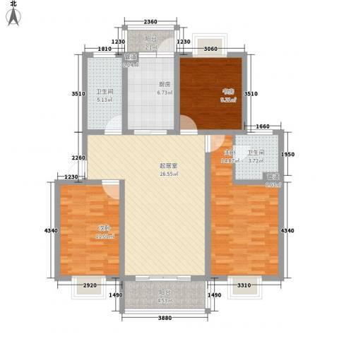 翡翠城3室0厅2卫1厨122.00㎡户型图